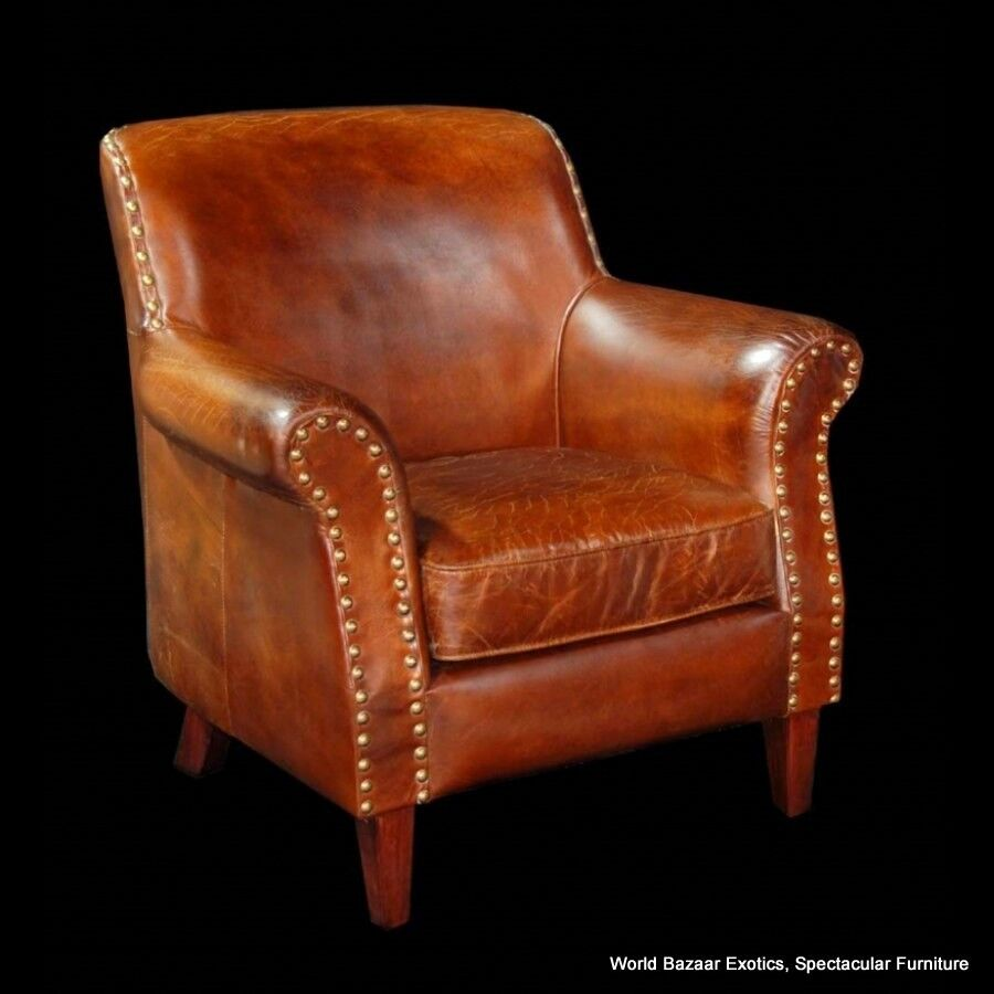 34 Quot Wide Club Chair Vintage Brown Cigar Italian Leather