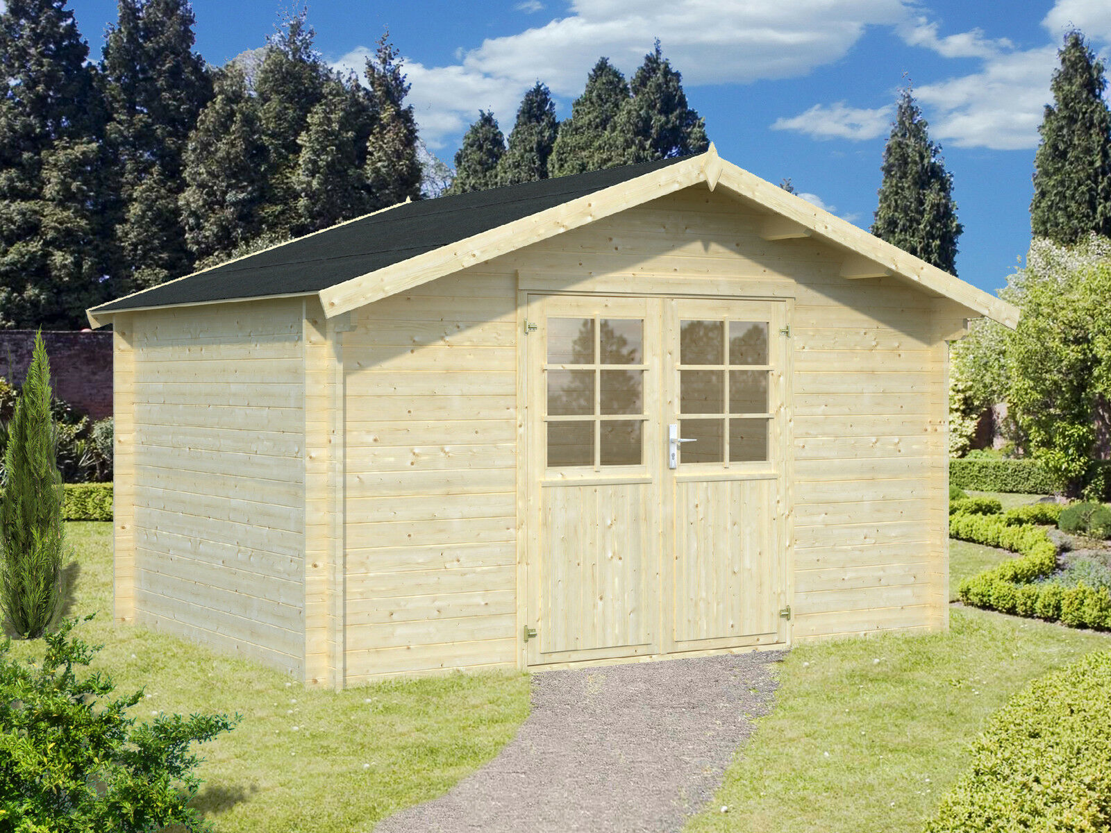 34 mm gartenhaus greta ca. 4x3 m gerätehaus blockhaus holz haus