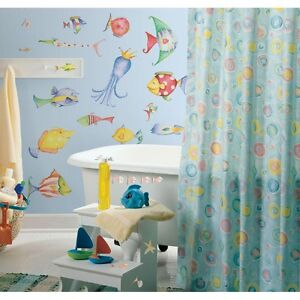 35 new sea creatures wall decals tropical fish bathroom for Bathroom fish decor