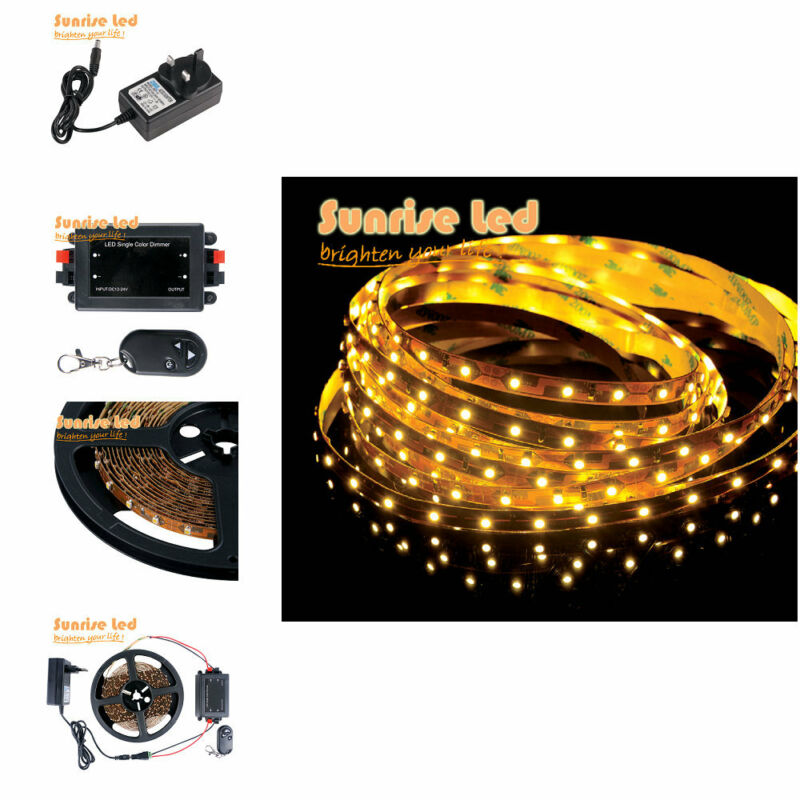 3528 led strip lights 300 leds 5m warm white 12v2a adapter ir remote. Black Bedroom Furniture Sets. Home Design Ideas