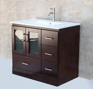 36 quot bathroom vanity cabinet ceramic lavatory top with integreted sink faucet mct ebay