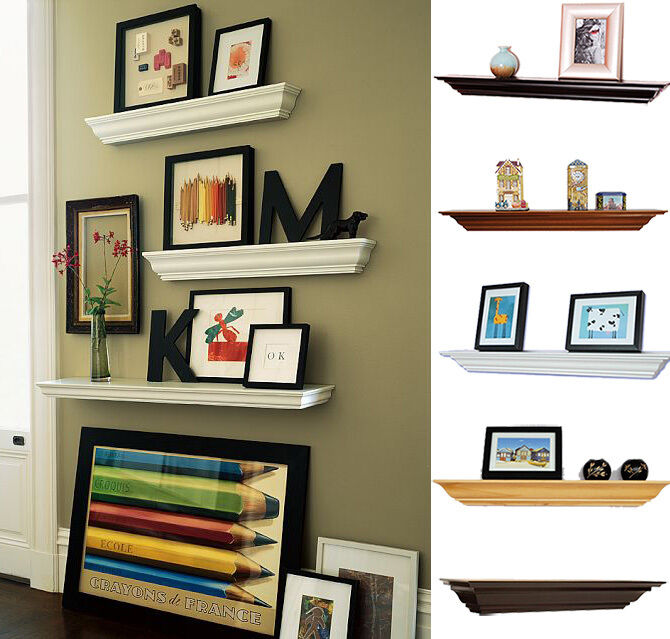 Welland crown molding floating wood wall shelves fireplace for Ideas for floating shelves in living room