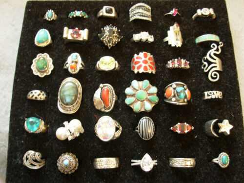 36 Fantastic Sterling Silver Turquoise, Red Coral, etc Handmade Vintage Rings in Jewelry & Watches, Fine Jewelry, Fine Rings | eBay
