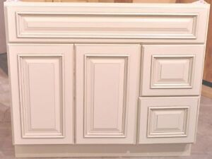Bathroom Vanities on 36 Inch White Ivory Contemporary Bathroom Vanity Right Drawers Cabinet