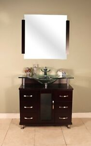 Bathroom Vanity Single Sink on Details About 36  Modern Single Glass Sink Bathroom Vanity Set Cabinet