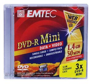 36-Stueck-EMTEC-4x-DVD-R-Mini-8cm-Rohlinge-1-4GB-30min