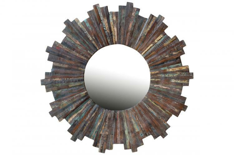 37 034 round vintage multi color mirror reclaimed for Demolition wood for sale