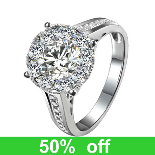 3CT DIAMETER Solid 14K White Gold DIAMOND Solitaire Halo Engagement Wedding Ring in Jewelry & Watches, Engagement & Wedding, Engagement Rings | eBay
