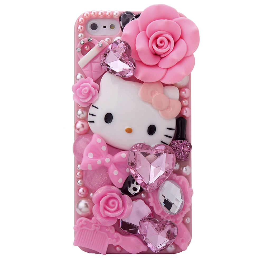 3D Bling Crystal Rhinestone Pink Hello Kitty Diamond Case Cover for ...
