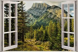 3d effekt fenster aussicht berg wald baum aufkleber. Black Bedroom Furniture Sets. Home Design Ideas