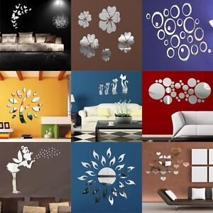 3d effekt spiegel wandtattoo wohnzimmer deko sticker wahlbar wandsticker ebay. Black Bedroom Furniture Sets. Home Design Ideas