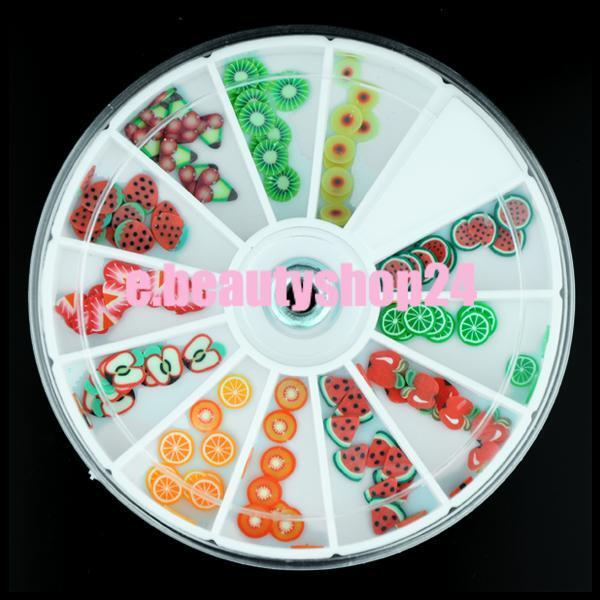 3D Polymer Fimo Fruit Shape DIY Nail Art Stickers Slices Decoration Wheel