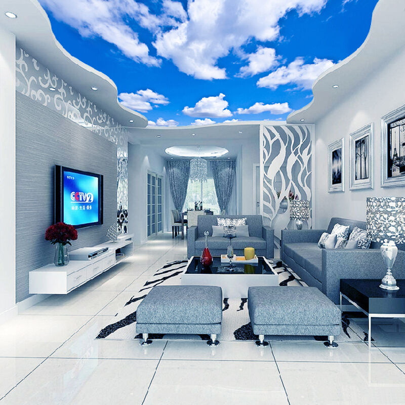 3d Wallpaper Mural Night Clouds Star Sky Wall Paper: 3D Wallpaper Blue Sky White Clouds Murals For The Living