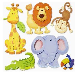 3d wandsticker wandtattoo tiere afrikas l we elefant affe giraffe kinderzimmer ebay - Wandsticker elefant ...