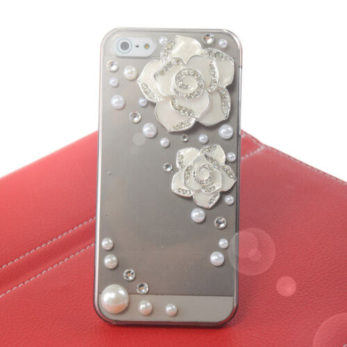 3D chrysanthemum White Pearl diamond clear case cover fot iphone 5 5g WCD02 in Cell Phones & Accessories, Cell Phone Accessories, Cases, Covers & Skins | eBay