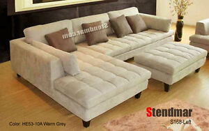 3PC MODERN GRAY MICROFIBER FABRIC SECTIONAL SOFA S168A in Home & Garden, Furniture, Sofas, Loveseats & Chaises | eBay