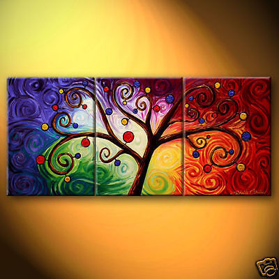 3PCS NEW Modern Abstract Large oil painting On Canvas Art ...