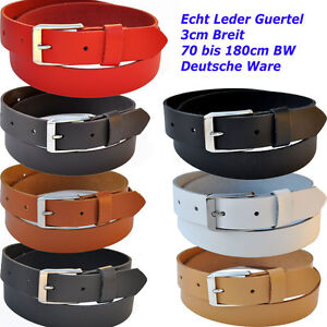 3cm-Breit-70-bis-180cm-Bundweit-ab-9-90-Euro-Leder-Guertel-Farbe-Laenge-Waehlbar