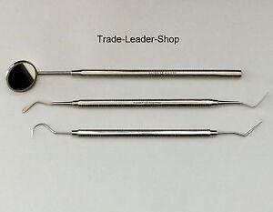 3er-Dentalset-Zahnreinigung-Zahnsteinkratzer-Zahnsonde-Heidemann-Mundspiegel