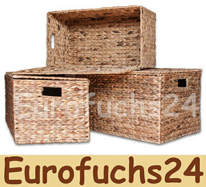 3er set aufbewahrungsboxen wasserhyazinthe natur korb kiste mit deckel regalkorb ebay. Black Bedroom Furniture Sets. Home Design Ideas