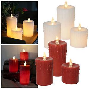 3er set led echtwachs kerzen inkl trafo 230v betrieb flammenlose kerze candle ebay. Black Bedroom Furniture Sets. Home Design Ideas