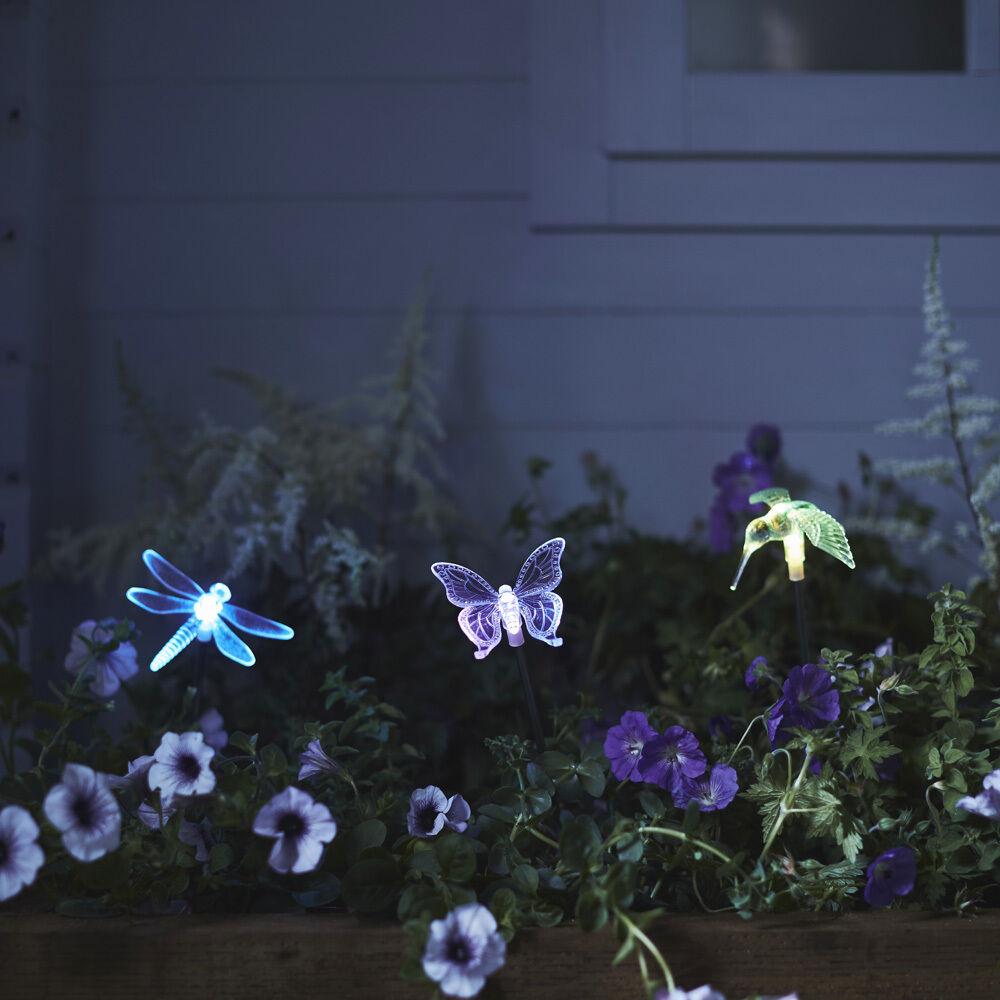 LED Solarleuchte Garten Libelle Schmetterling Gartenbeleuchtung Weg Solarlampe