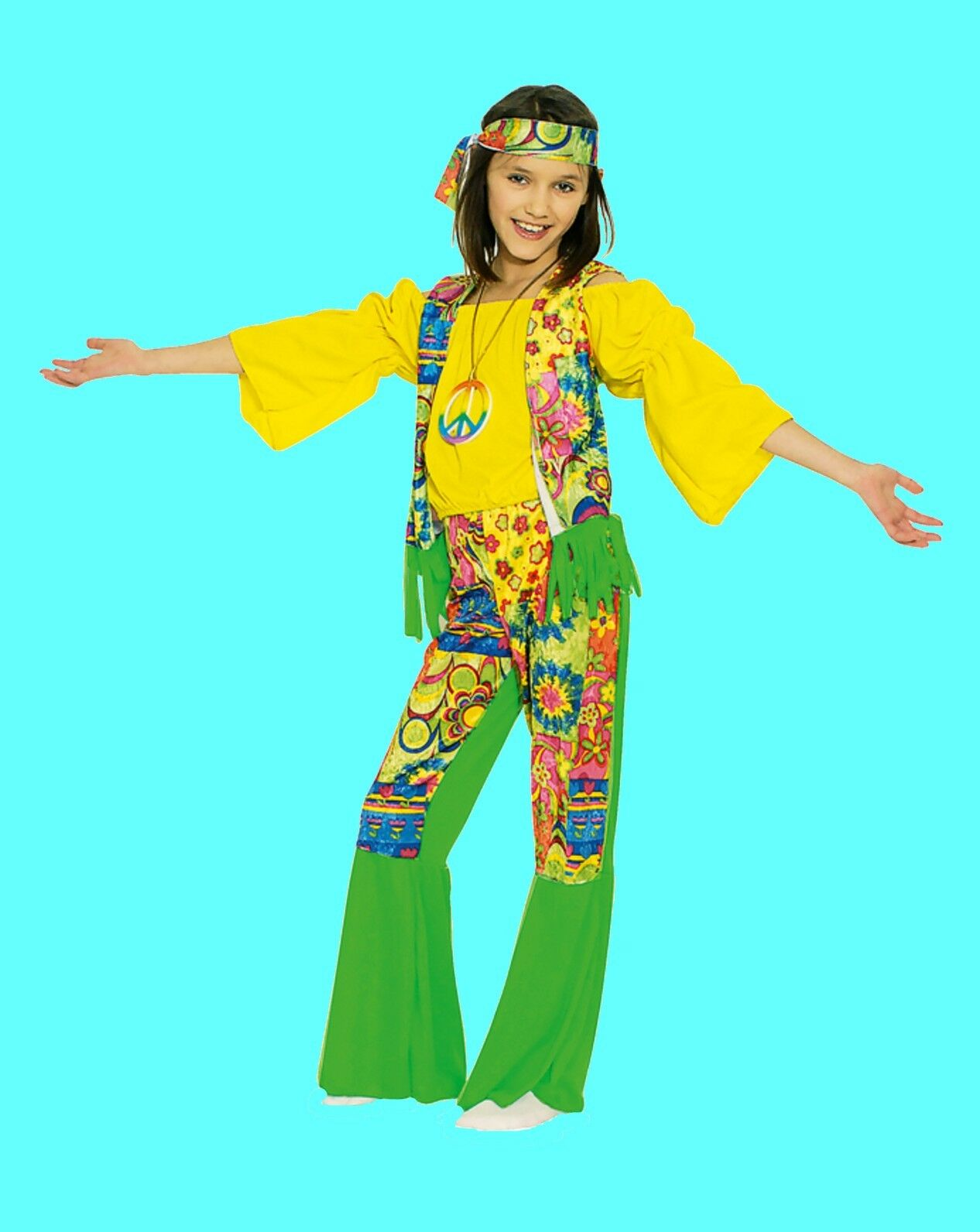 Frauen Retro 60er Jahre 70er Jahre Hippie Kostüm Ivana Gogo  Kleid