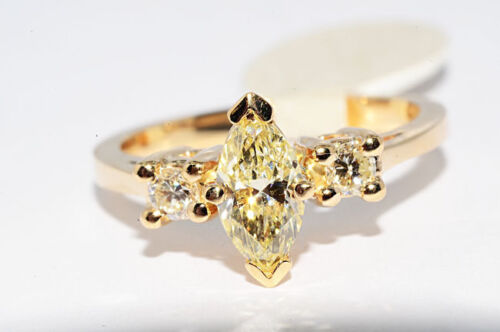 $4,000 .76Ct 3 Stone Natural Light Yellow Diamond Engagement Ring Size 5.25 in Jewelry & Watches, Engagement & Wedding, Engagement Rings | eBay