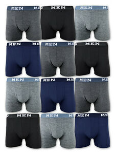 4-10-20-Boxershorts-Baumwolle-Retro-Shorts-Unterhosen-Schwarz-Grau-Blau