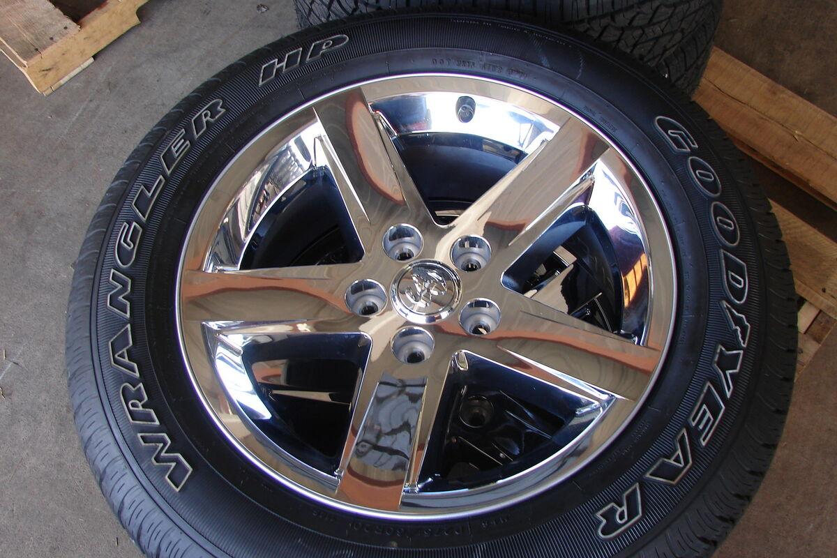 "4 20"" Dodge RAM 1500 5 Spoke Chrome Factory Wheels Rims Tires"