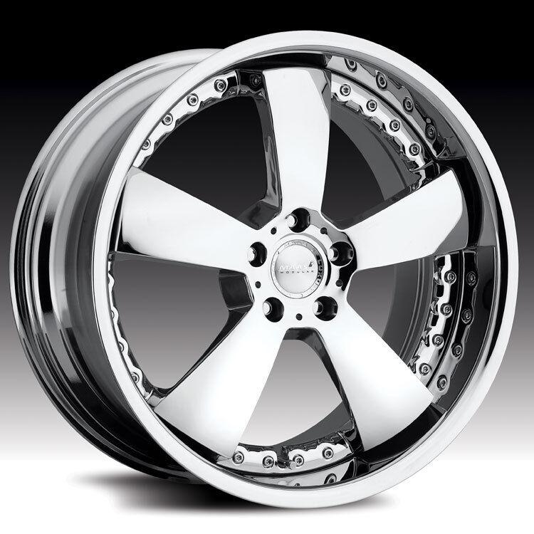 "4 22"" Stag Maas 2 Piece Modular Wheels 550C Chrome Rims 5x112 Mercedes Benz VW"