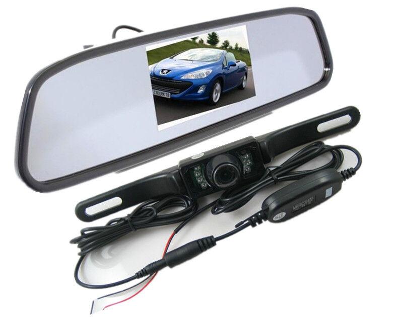 4 3 lcd car rear view mirror monitor wireless ir reverse backup camera kit ebay. Black Bedroom Furniture Sets. Home Design Ideas