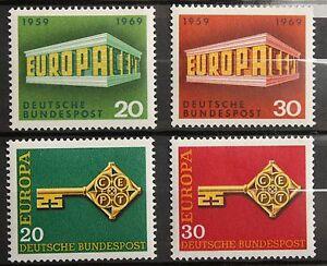 4-BRD-Briefmarken-1968-69-Europa-postfrisch-Michel-Nr-559-560-583-584
