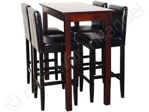 4 barhocker mit bartisch set essgruppe stehtisch schwarz for Barhocker set mit tisch
