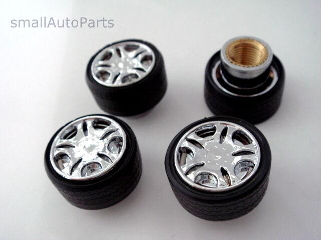 Custom Chrome Rim Wheel shape Tire Stem Air Valve CAPS Covers set