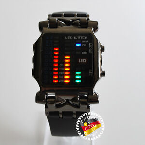 4-FARBEN-LED-WATCH-HERREN-DOT-MATRIX-LED-WATCH-UHR-BINARE-STYLISCHE-ARMBANDUHR