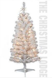 4 ft Pre Lit White Artificial Christmas Tree Iridescent Branches New in Box   eBay