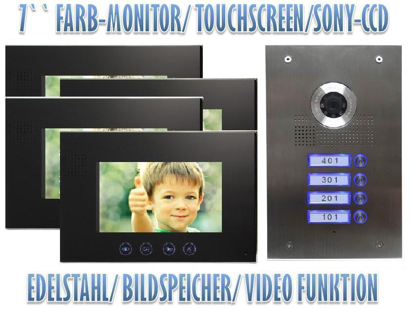 4 familienhaus video t rsprechanlage gegensprechanlage 7 zoll monitor ebay. Black Bedroom Furniture Sets. Home Design Ideas