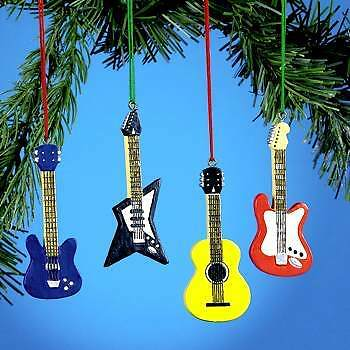 ( 4 ) GUITAR CHRISTMAS TREE HOLIDAY ORNAMENTS BASS ACOUSTIC ELECTRIC ROCK STAR in Collectibles, Holiday & Seasonal, Christmas: Current (1991-Now) | eBay