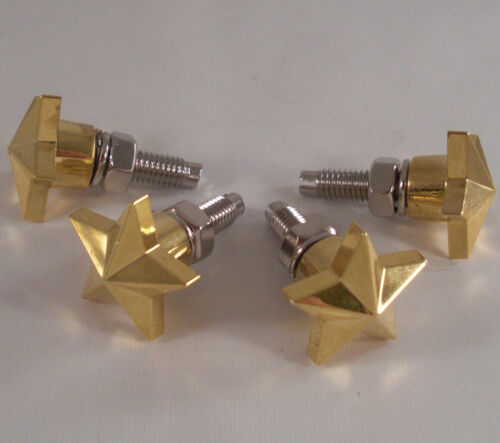 4 Gold Quot Rock Star Quot Motorcycle License Plate Frame Bolts
