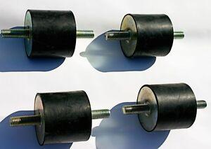 4-Gummipuffer-Gummilager-weich-mit-beidseitigem-Gewindebolzen