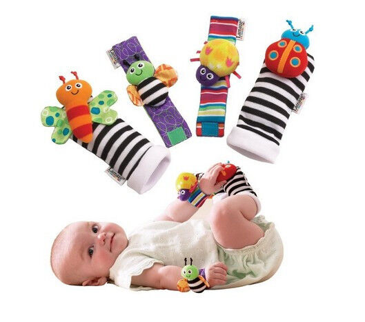 4 Infant Baby Kids Wrist Watchs Foot Socks Rattles Hand Foot Finders Toys Hot