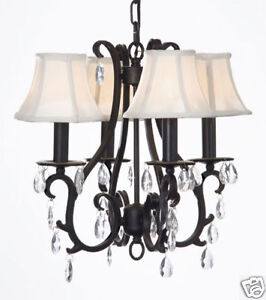 Amazon.com: New! Wrought Iron Crystal Chandelier With Shades! H21
