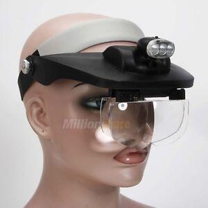 4 lens hands free head magnifying glass magnifier led. Black Bedroom Furniture Sets. Home Design Ideas