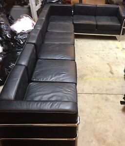 4 Pc Contemporary Black Leather Sectional Sofa 12 Ft X 6