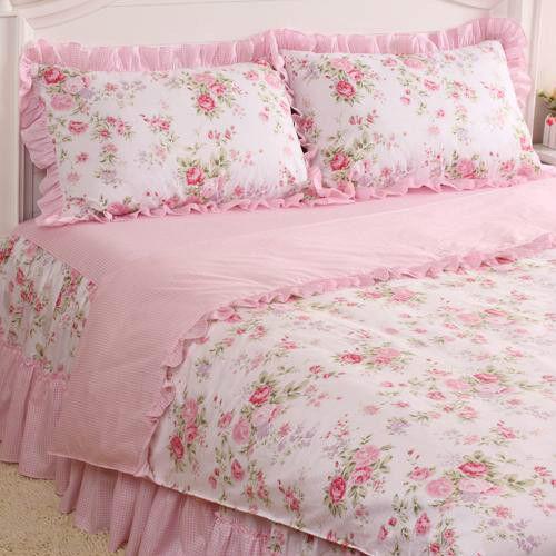 4 Pcs Pink Rose Floral Check Princess Bedding Duvet Comforter Cover Set Style L
