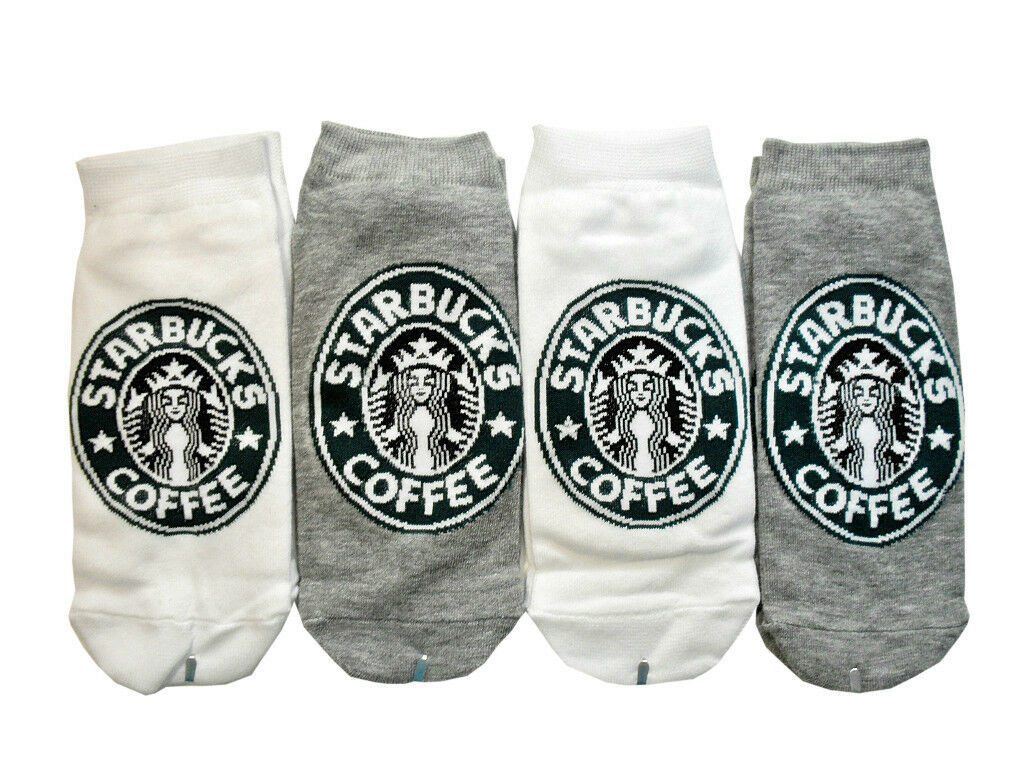 Pairs of starbucks white and gray color socks for women