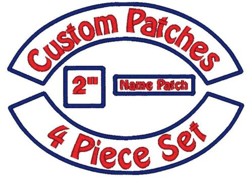 "4 Piece Custom Embroidered Patch Set - Rockers Name MC Square - 12"" Motorcycle in Specialty Services, Custom Clothing & Jewelry, Other 