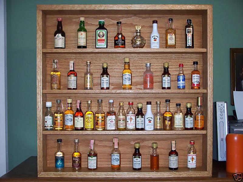 shelf miniature liquor bottle display case solid oak. Black Bedroom Furniture Sets. Home Design Ideas