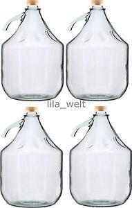 4-STUCK-Gaerballon-Flasche-Glasballon-Weinballon-Glas-Ballon-Glasflasche-5L-NEU